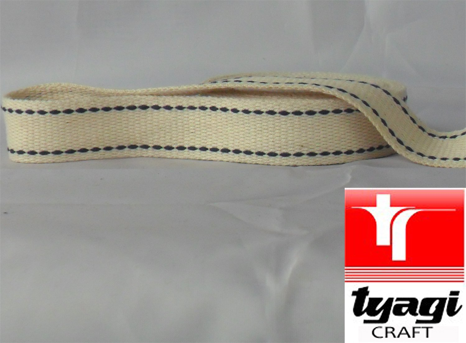 25mm Pure Cotton Tape Strong Thick Webbing Strap Tent Upholestry Bags, Edging, Craft, Dress, Belts Beige / Off White 1MTR Tyagi Craft