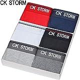 CK STORM 男士莱卡棉 经典系列中腰平角裤 六条礼盒装