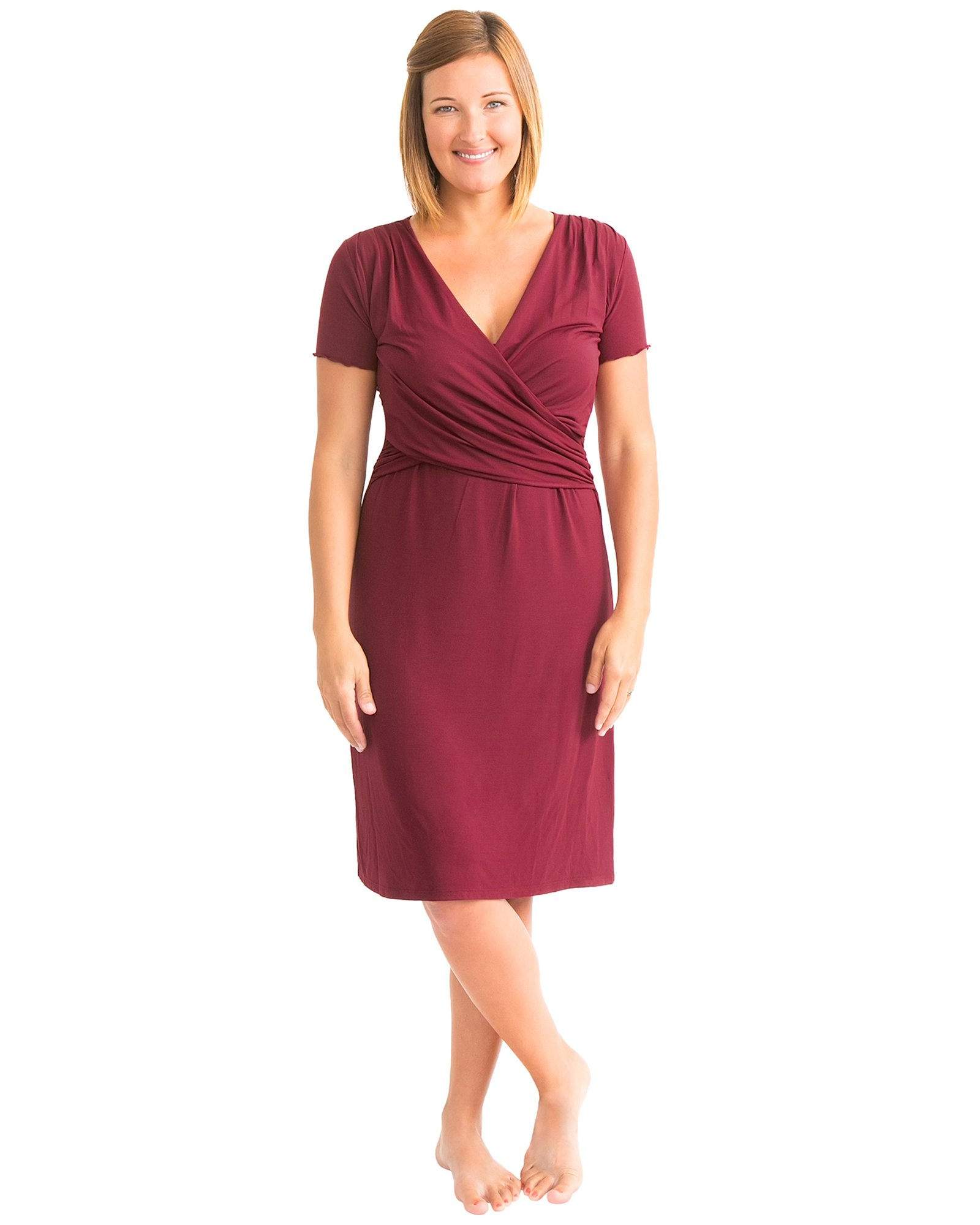 Kindred Bravely Angelina Ultra Soft Maternity & Nursing Nightgown Dress (Cabernet, Small)
