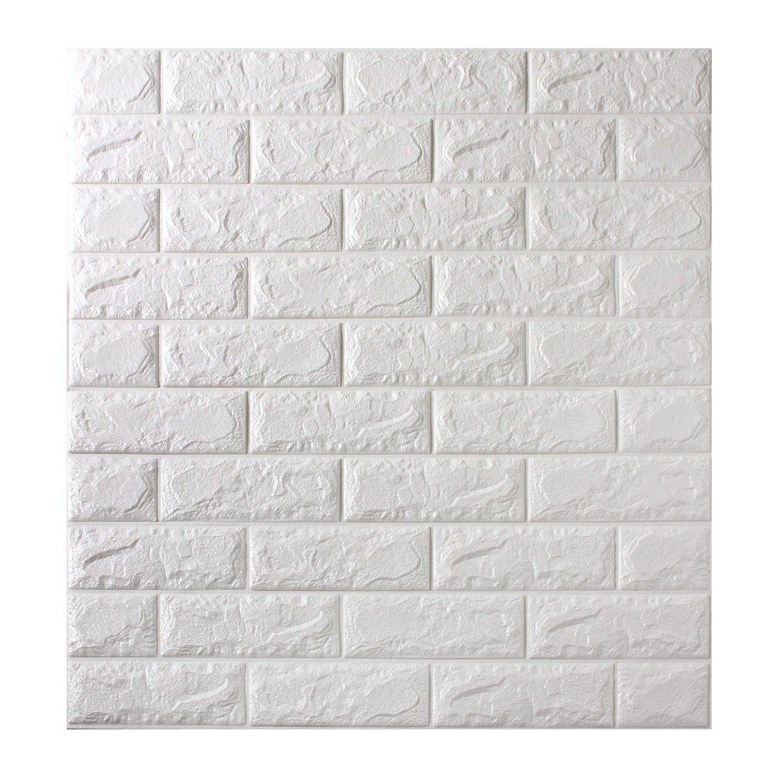 タンスのゲン 壁紙シール 12枚セット レンガ 70cm×77m サイズカット可能 ウォールステッカー 3D タイル ホワイト 18700059 00 B071L8P9TW 12枚セット|ホワイト(レンガ) ホワイト(レンガ) 12枚セット