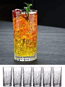 Le'raze Crystal Highball Drinking Glasses for Water, Juice, Beer, Wine, and Cocktails. Set Of 6, 15 Ounces (New York) pattern, Durable Heavy Base Tall Bar Tumblers.
