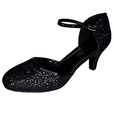62066e243be0c Womens Glitter Low Kitten Heel Shoes Mary Jane Ankle Strap Party ...