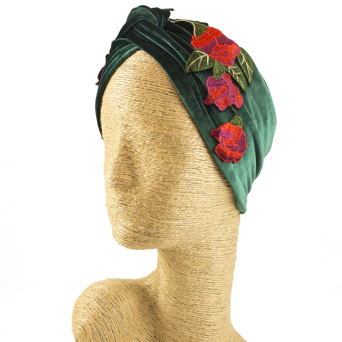 Fascinator, Velvet Headbands, Millinery, Worldwide Free Shipment, Delivery in 2 Days, Customized Tailoring, Designer Fashion, Head wrap, Bohemian Accessories, Green, Jewelled, Red, Boho Chic