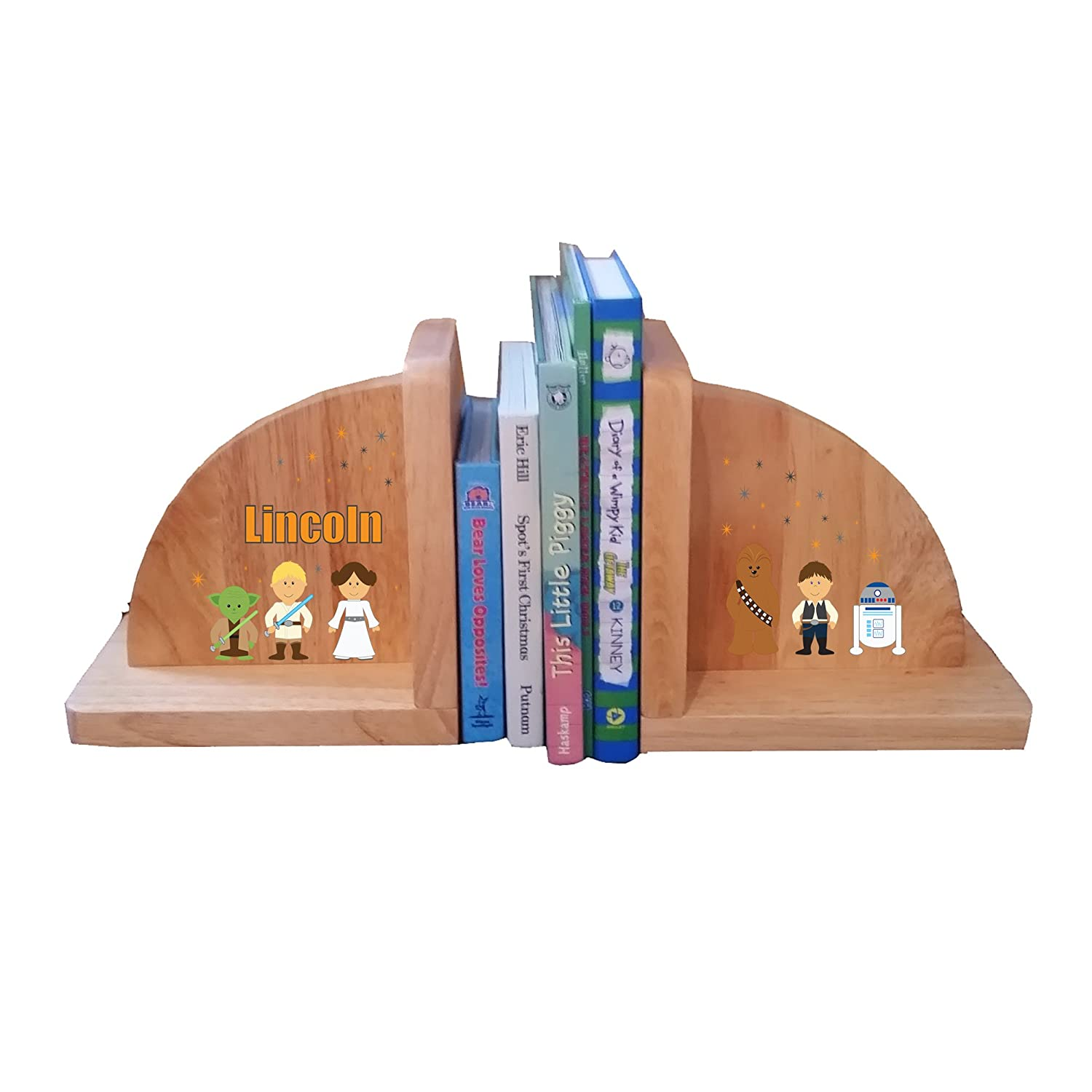 Personalized Galaxy Friends Natural Childrens Wooden Bookends MyBambino ENDS-nat-PT-231