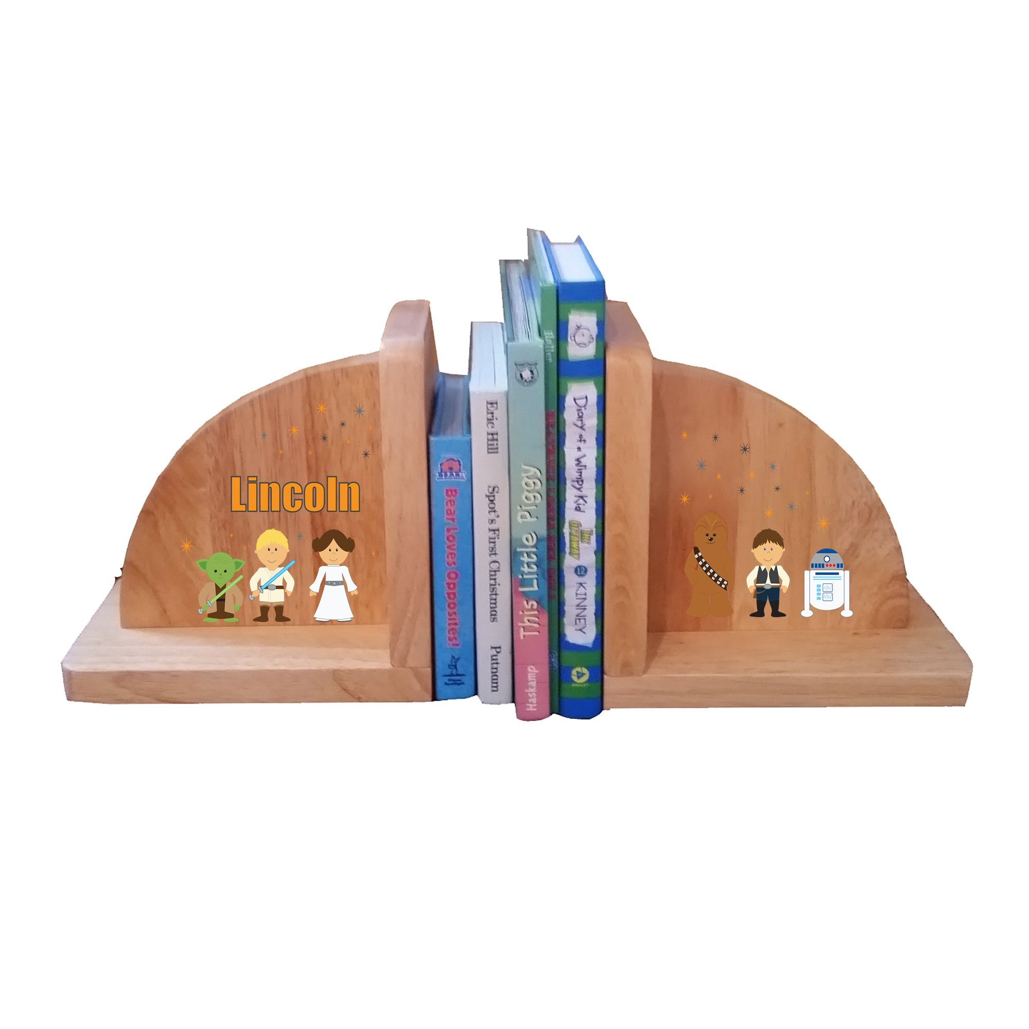 Personalized Galaxy Friends Natural Childrens Wooden Bookends