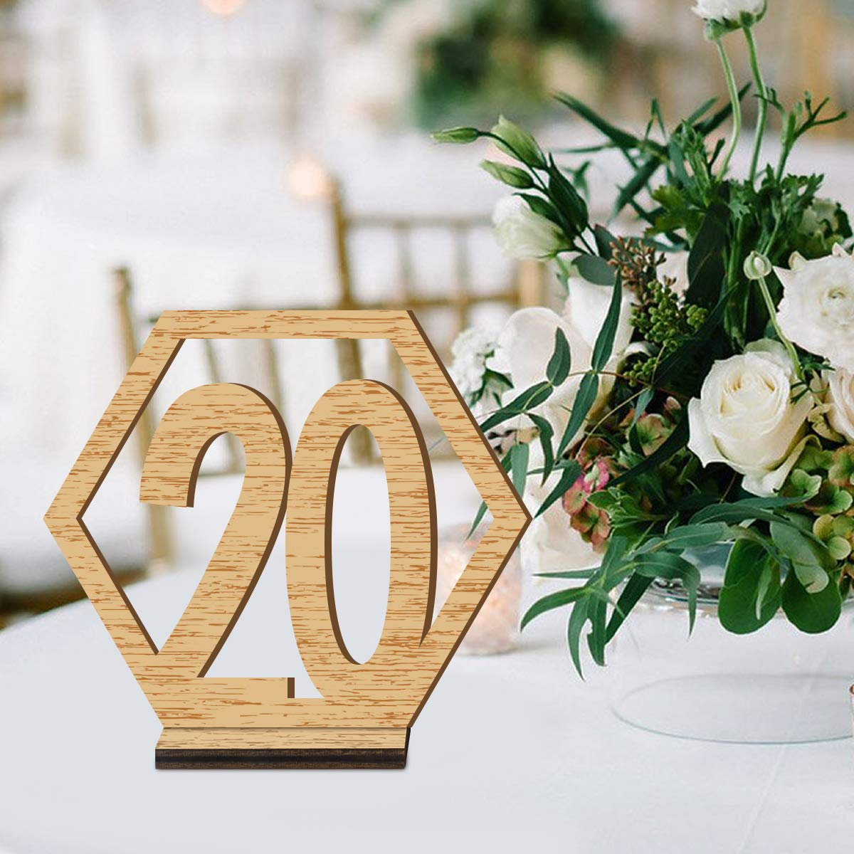 ElekFX Table Numbers, 20pcs 1-20 Wedding Wooden Desk Number Cards with Base Party Card Double Sided Design Table Holder for Wedding Reception and Decoration
