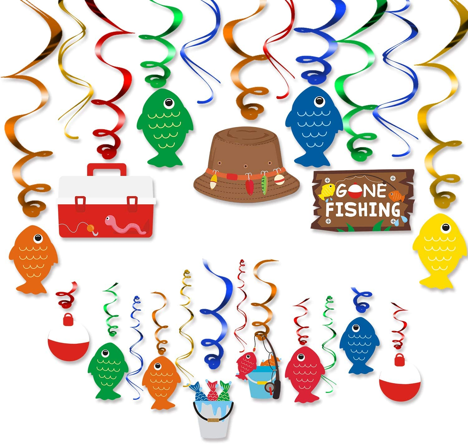 Amazon Com 30ct Gone Fishing Party Hanging Swirl Decorations Kit Little Fisherman The Big One Birthday Baby Shower Photo Props Summer Reel Fun Ideas Ceiling Door Foil Whirls Streamers Supplies Toys Games