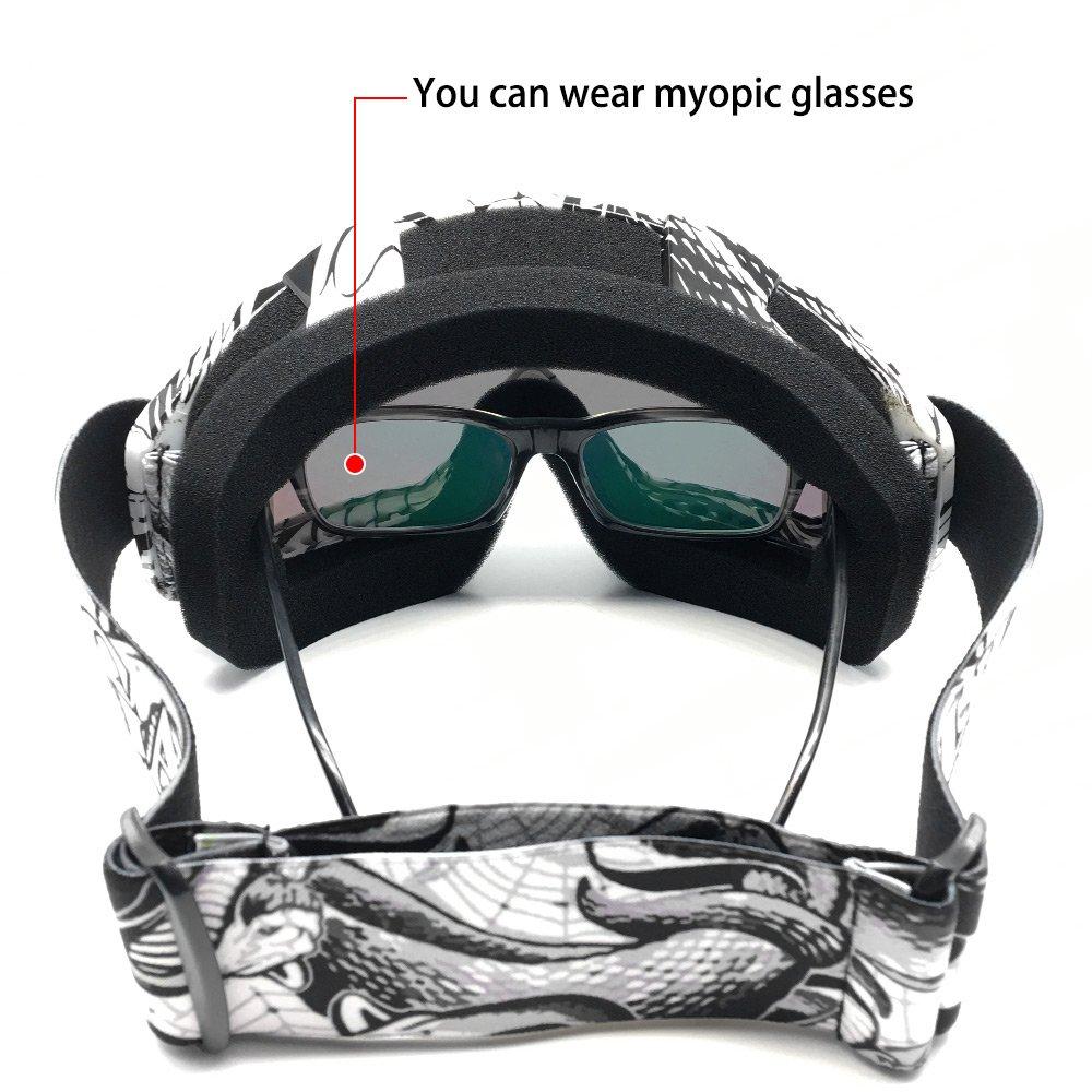 Zdatt Bendable Snow Skiing Snowboarding Goggles,Unisex Motocross Sports Snowmobile Snowboard Ski Goggles Anti Fog Dust UV, Dustproof Scratch-Resistant by ZDATT (Image #4)