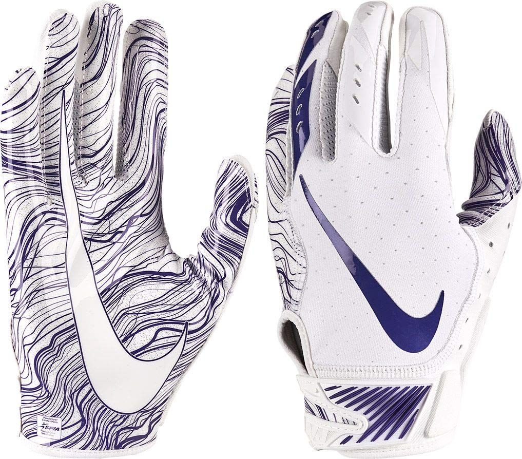 Nike Adult Vapor Jet 5.0 Receiver Gloves 2018 (White/Purple, Small)