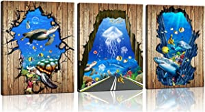 Beach Bathroom Decor Wall Art - Ocean Decor Theme Pictures for Bedroom - Sea Turtles with Jellyfish with Shark Artwork Print on Canvas for Living Room - 3 Pieces Blue Sea Life Aquarium Paintings for Kitchen Home Decoration - Ready to Hang (BLUE, 12L*16W)