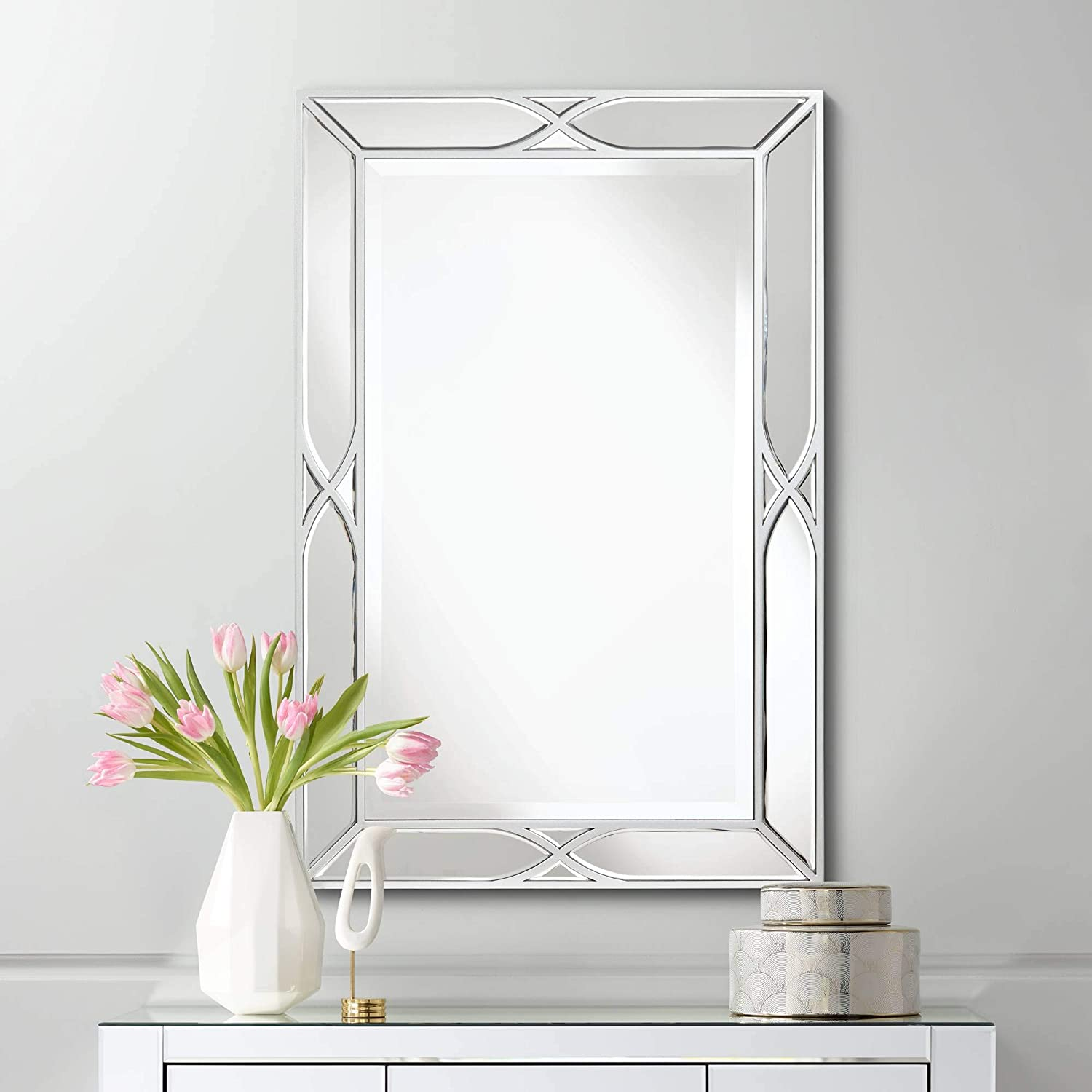 Amazon Com Noble Park Tryon Silver 25 X 38 Beveled Wall Mirror Home Kitchen