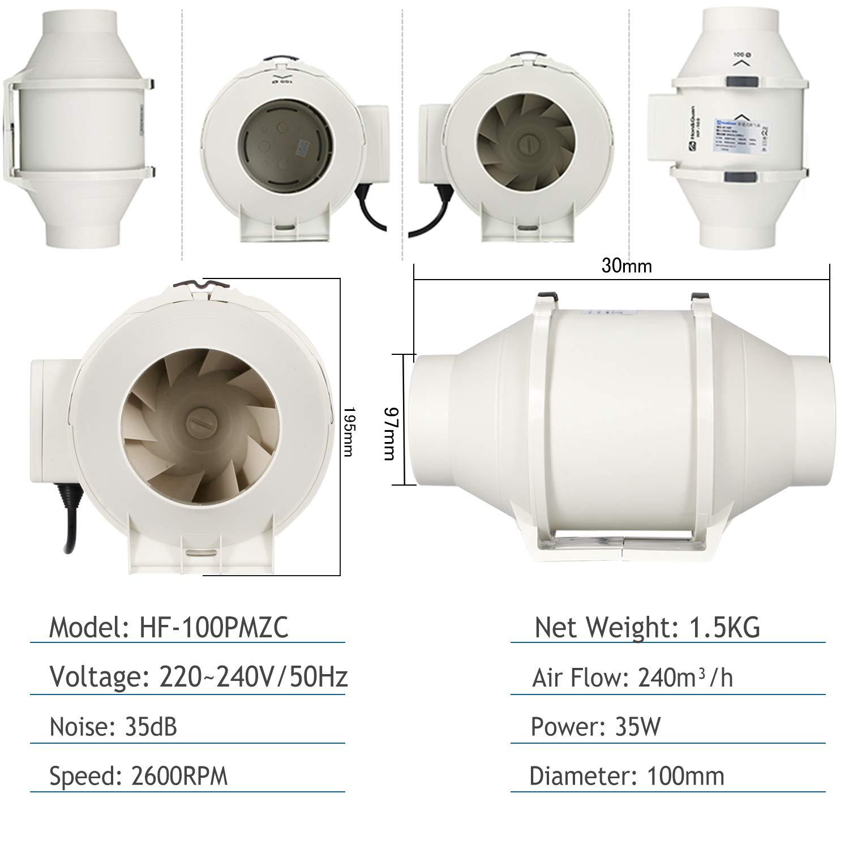 Hon/&Guan Rohrventilator Abluftventilator mit Timer und Hygrostat f/ür Zimmer Badezimmer K/üche /Ø125mm