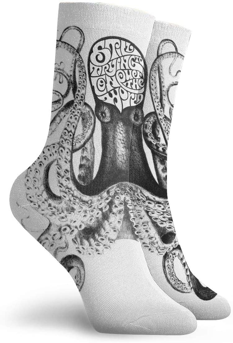 WEEDKEYCAT Sketch Angry Octopus Adult Short Socks Cotton Gym Socks for Mens Womens Yoga Hiking Cycling Running Soccer Sports