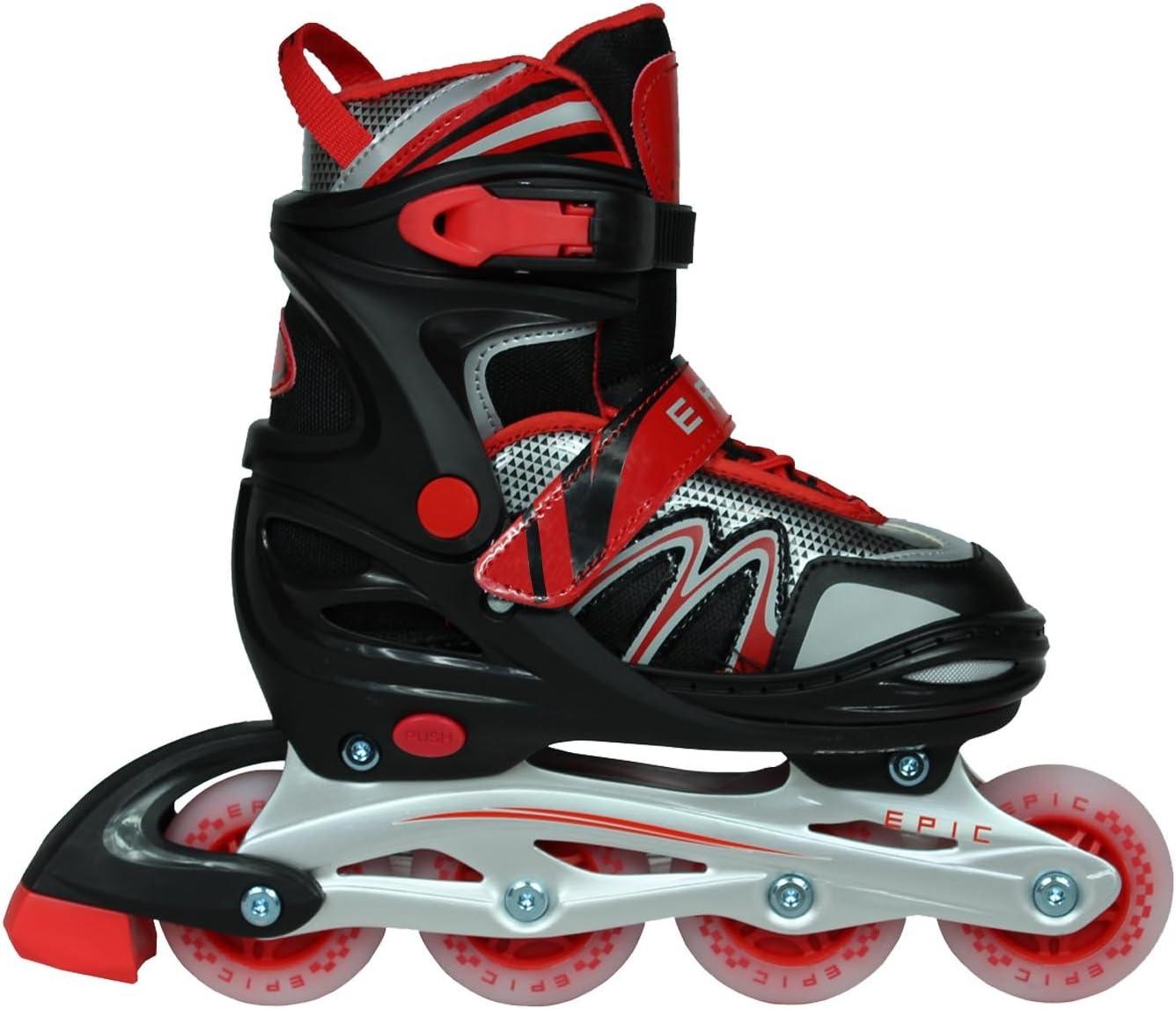 Adult 5-8 Black//Red Epic Skates Drift Adjustable Inline Roller Skates W//LED Light Up Wheels