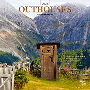 Outhouses 2021 12 x 12 Inch Monthly Square Wall Calendar with Foil Stamped Cover by StarGifts, Toilette Latrine Bog Humor