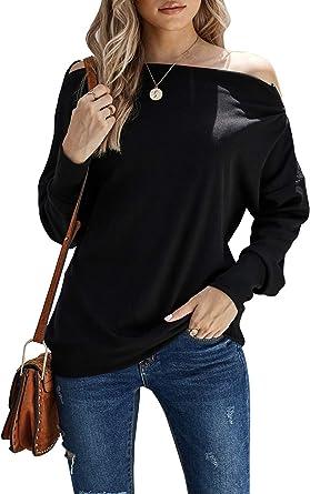 BLENCOT Womens Knit Sweatshirt Off Shoulder Zipper Batwing Long Sleeve Casual Loose Blouses Tops