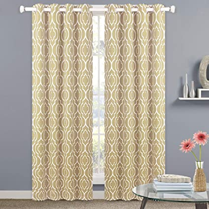 Black Room Darkening Curtains.Nanan Moroccan Printed Blackout Room Darkening Curtains Lattice Geometric Thermal Insulated Grommet Blackout Curtains Window Treatment For