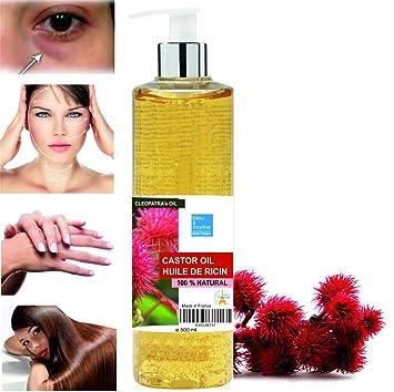 Aceite de Ricino Puro Natural 500 ml - Castor Oil - Aceite de Belleza Anti bolsas, Suavizante Cabello, Hidratante Rostro, Nutritivo Piel y Reparador ...