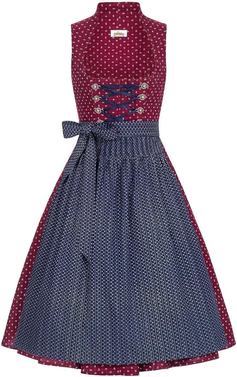 Almsach Damen Trachten-Mode Midi Dirndl Manuela in Weinrot-Blau traditionell
