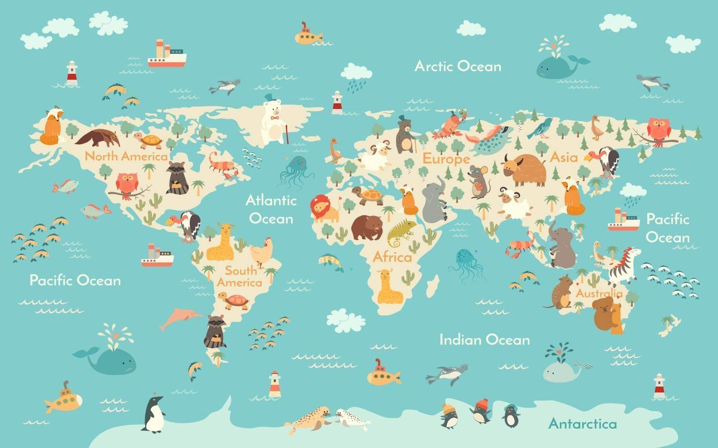 Amazon.com: World Map with Ocean Animals Wallpaper for Kids ...