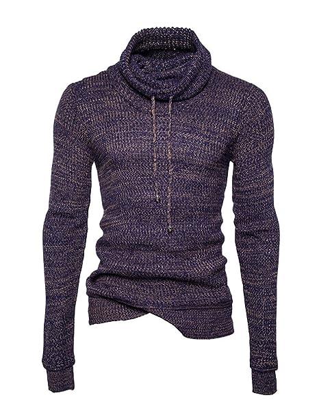 Suéter De Punto Jersey De Cuello Alto para Hombre Tamaños Cómodos Suéter De  Punto Suéter De f4369880f4534
