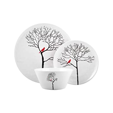 Melange 36-Piece Melamine Dinnerware Set (Christmas Collection) | Shatter-Proof and Chip-Resistant Melamine Plates and Bowls | Design: Bird in Forest | Dinner Plate, Salad Plate & Soup Bowl 12 Count(Pack of 3)