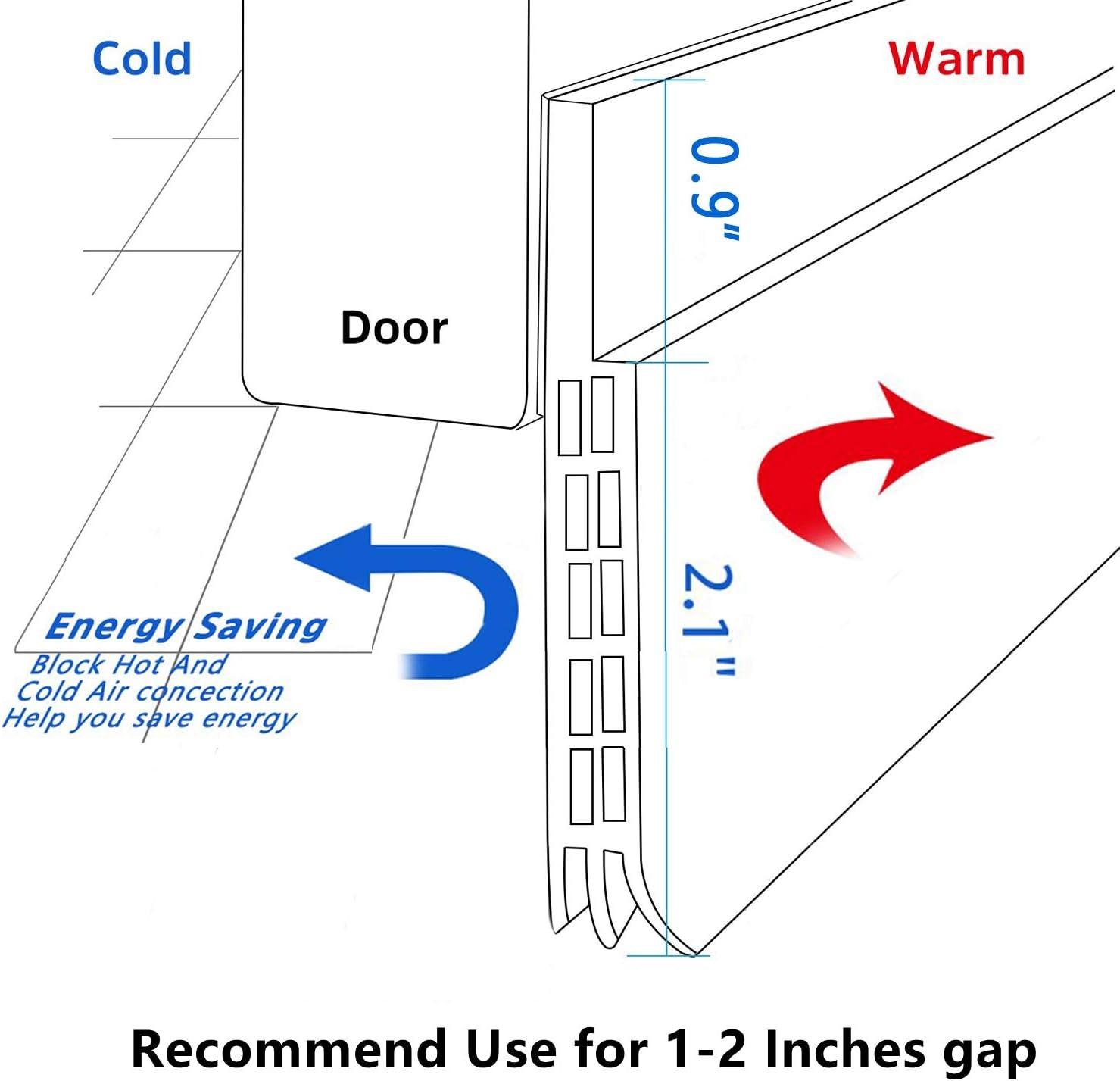 """BAINING Door Draft Stopper Sweep 2019 New Upgrade 3 Inches Widening Door Bottom Seal Strip Under Door Noise Blocker for Interior Doors Insulation and Soundproofing 3/"""" W x 39/"""" L Black"""