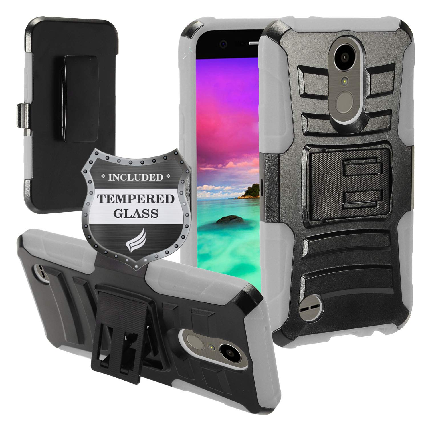EagleCell - for LG K20 Plus, LG K20 V, LG Grace, LG Harmony, LG K10 (2017) M250 - Hybrid Armor Case with Stand/Belt Clip Holster + Tempered Glass Screen Protector - Gray