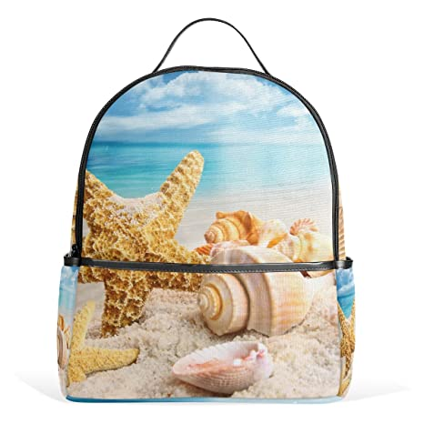 COOSUN Estrellas de mar y conchas marinas playa azul del océano mochilas escolares mochilas para las