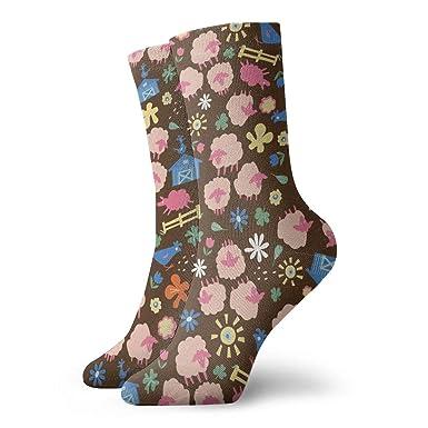 Huabuqi Calcetines para damas 39-42 Ditsy Daisy Sheep Brown_4672, 100% algodón antideslizante para hombres, mujeres, talla única.: Amazon.es: Ropa y accesorios
