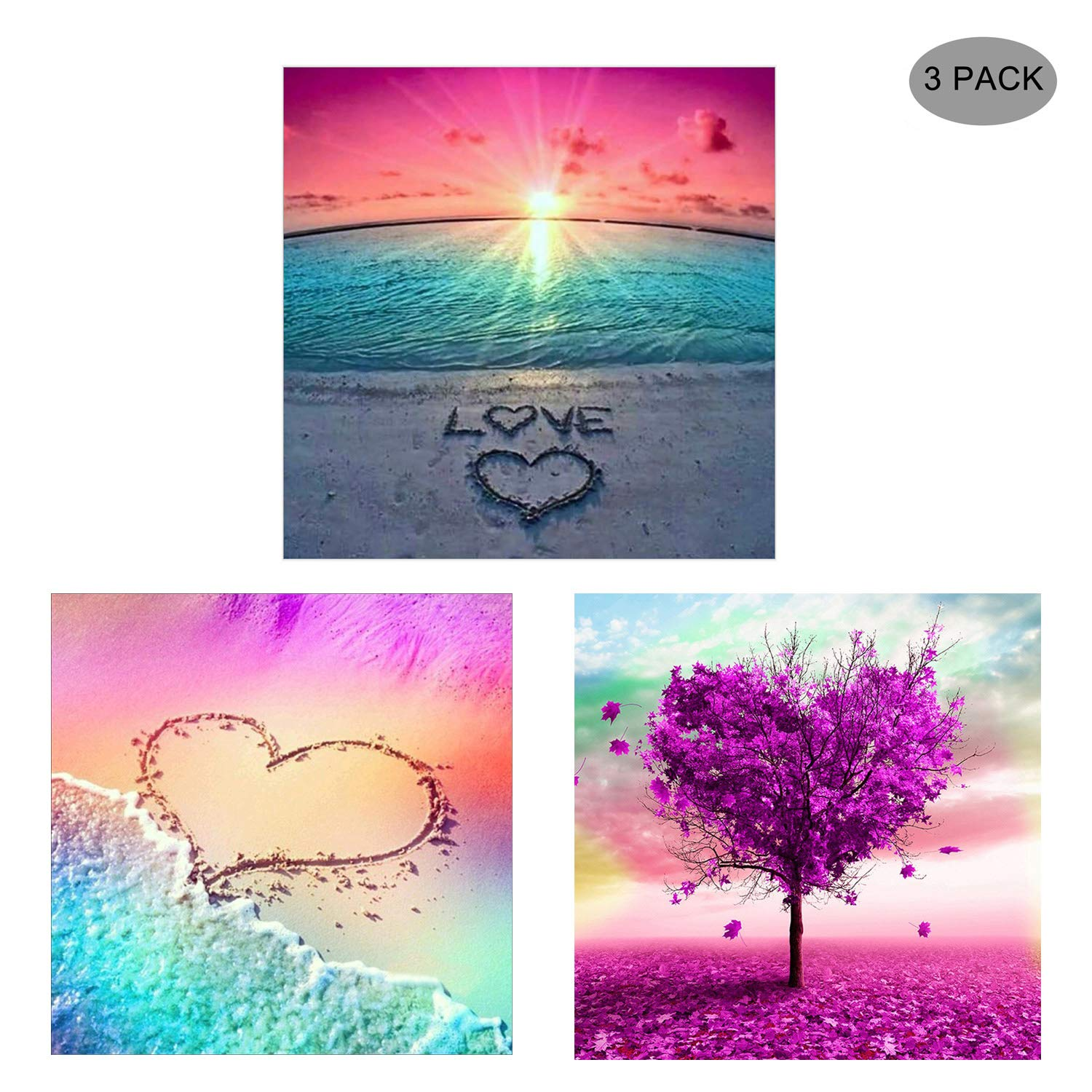 Beach and Love 12/×16inch HaiMay 2 Pack DIY 5D Diamond Painting by Number Kits Full Drill Round Rhinestone Embroidery Pictures Arts Craft for Home Wall Decoration