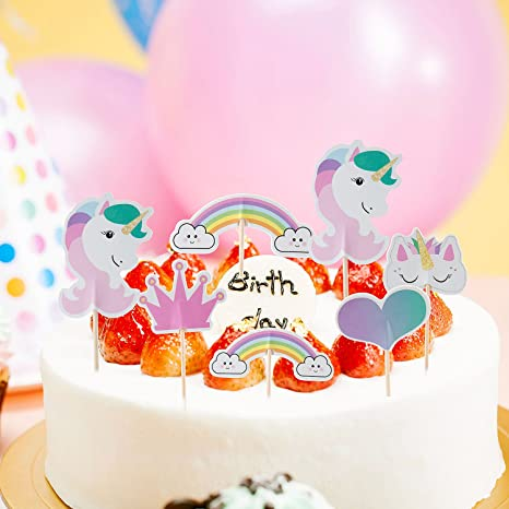 Cake Topper de Unicornio Topper,ZeWoo 48 Piezas de Tartas en Corazón Corona Arco Iris Decoración de Pasteles para Fiesta Temática y Tarta de ...