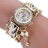 Leoy88 Women Watch Braided Wrist Rhinestone Analog Quartz Watch