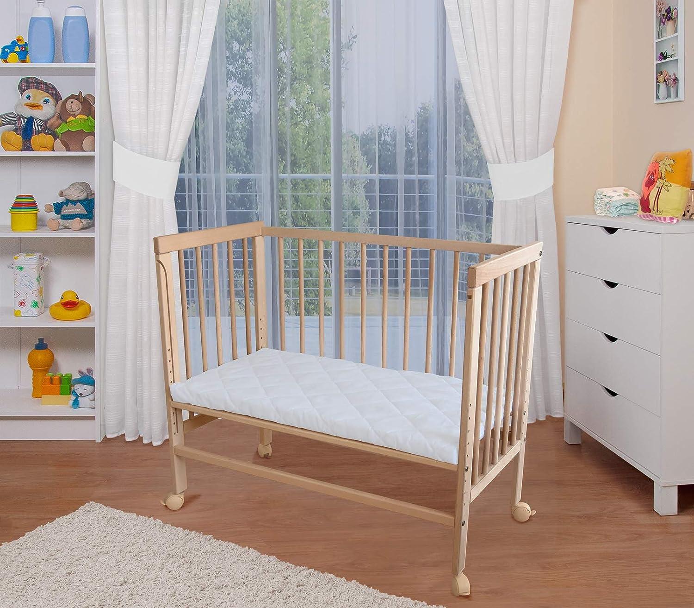 WALDIN Baby Beistellbett mit Matratze 2 Modelle w/ählbar,Buche Massiv-Holz natur unbehandelt h/öhen-verstellbar