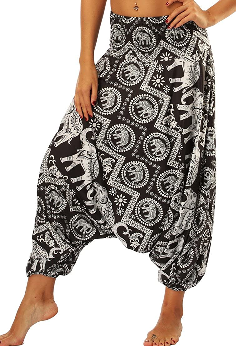 DUOLIFU Womens Casual Boho Print Smocked Waist Aladdin Harem Hippie Yoga Pants