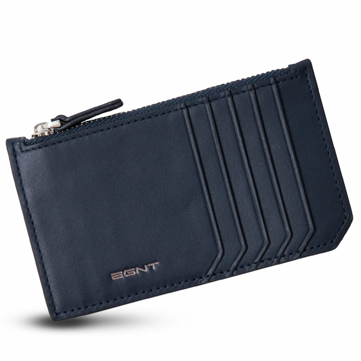 EGNT Womens Mens Luxe Multi Card Case Wallet with RFID Blocking Minimalist Zipped Pocket (Navy/Silver)