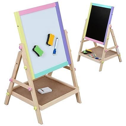 Infantastic – Pizarra para niños 2 en 1 (pizarra magnética, pizarra para pintar de madera con accesorios) - aprox. 64/41/33,5 cm – de color lila