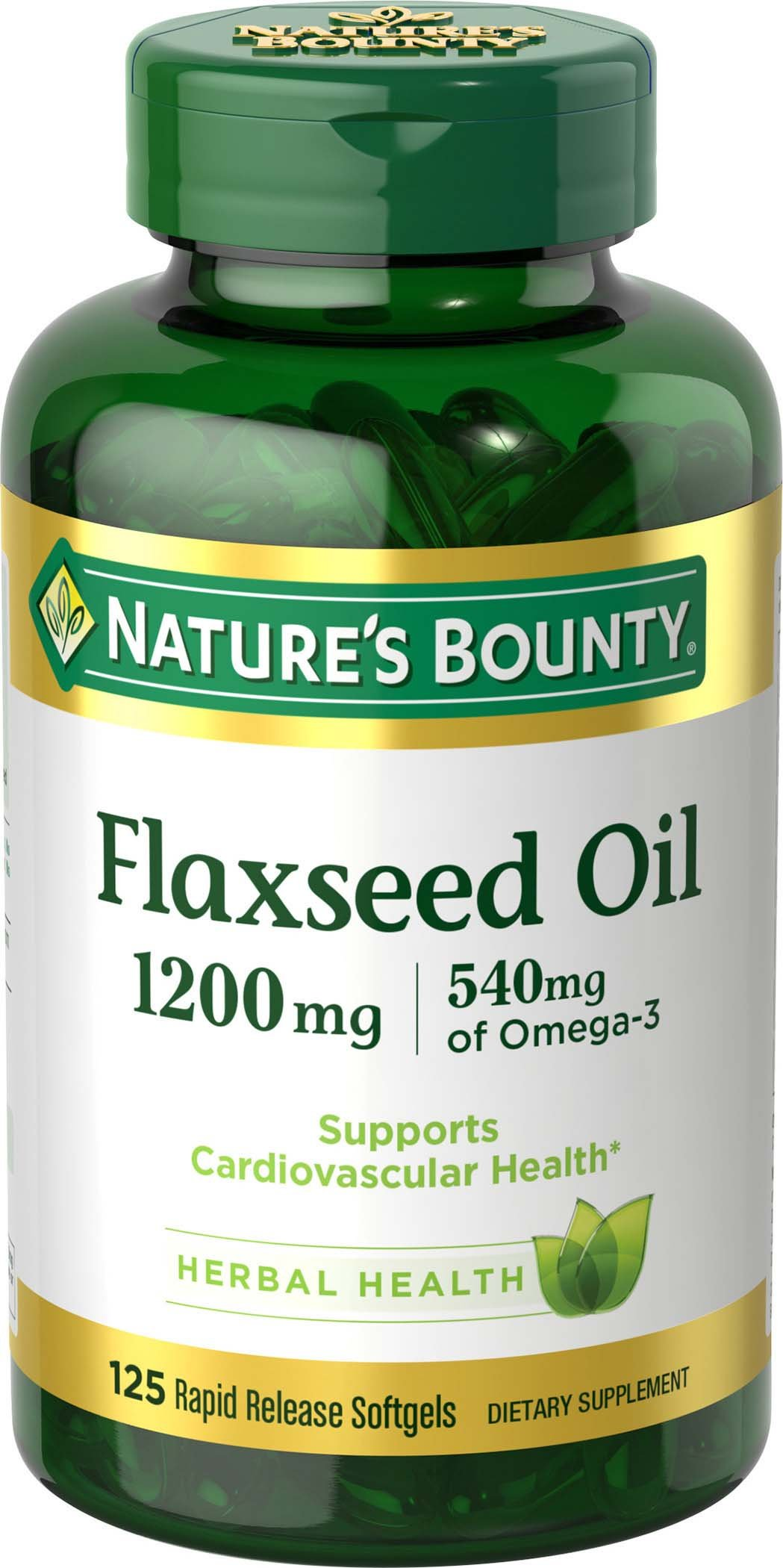 Nature's Bounty Flaxseed Oil 1200 mg, 125 Rapid Release Softgels, Pack of 2 by Nature's Bounty