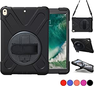 iPad Pro 10.5 Case 2017/ iPad Air 3 Case 2019, TSQ Heavy Duty Rugged Protective Hard Case with Stand,Handle Hand Strap&Shoulder Strap, iPad Air 3rd Generation 10.5 inch for Kids A1701 A1709 A2152 Blk