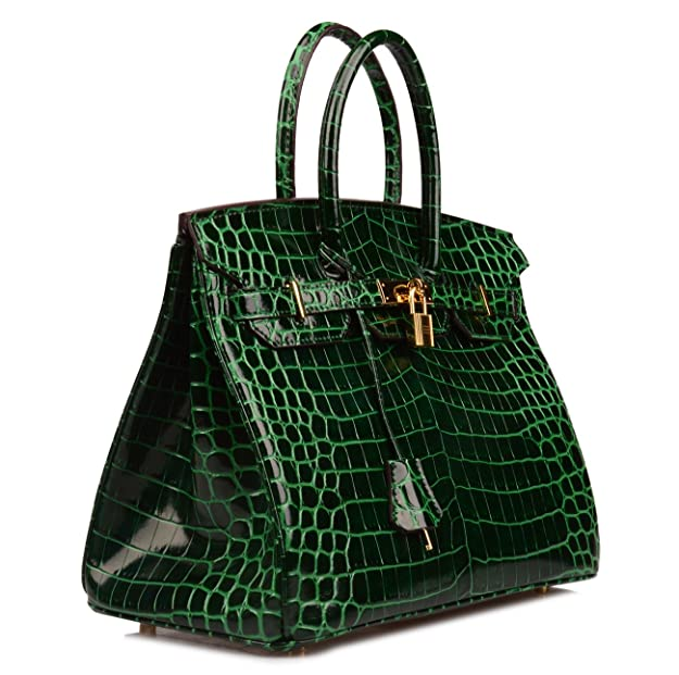 65b9805ec89 Ainifeel Women s Patent Leather Crocodile Embossed Top Handle Handbags  (30cm