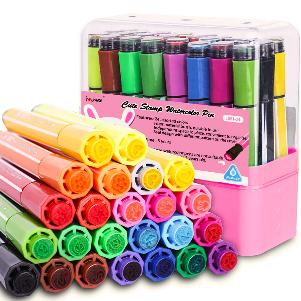 24 Colors Marker Pens with Stamps, Washable Watercolor Pen for Coloring Book Drawing Doodling DIY Crafts by iMustech