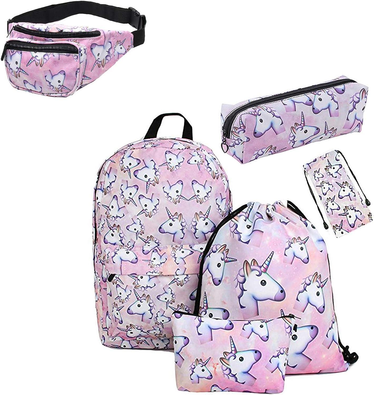 Giddah impreso unicornio Bolso de vidrios, caja de lápiz, bolso cosmético, bolso con cordón, mochila,mochila Set adolescentes para la escuela