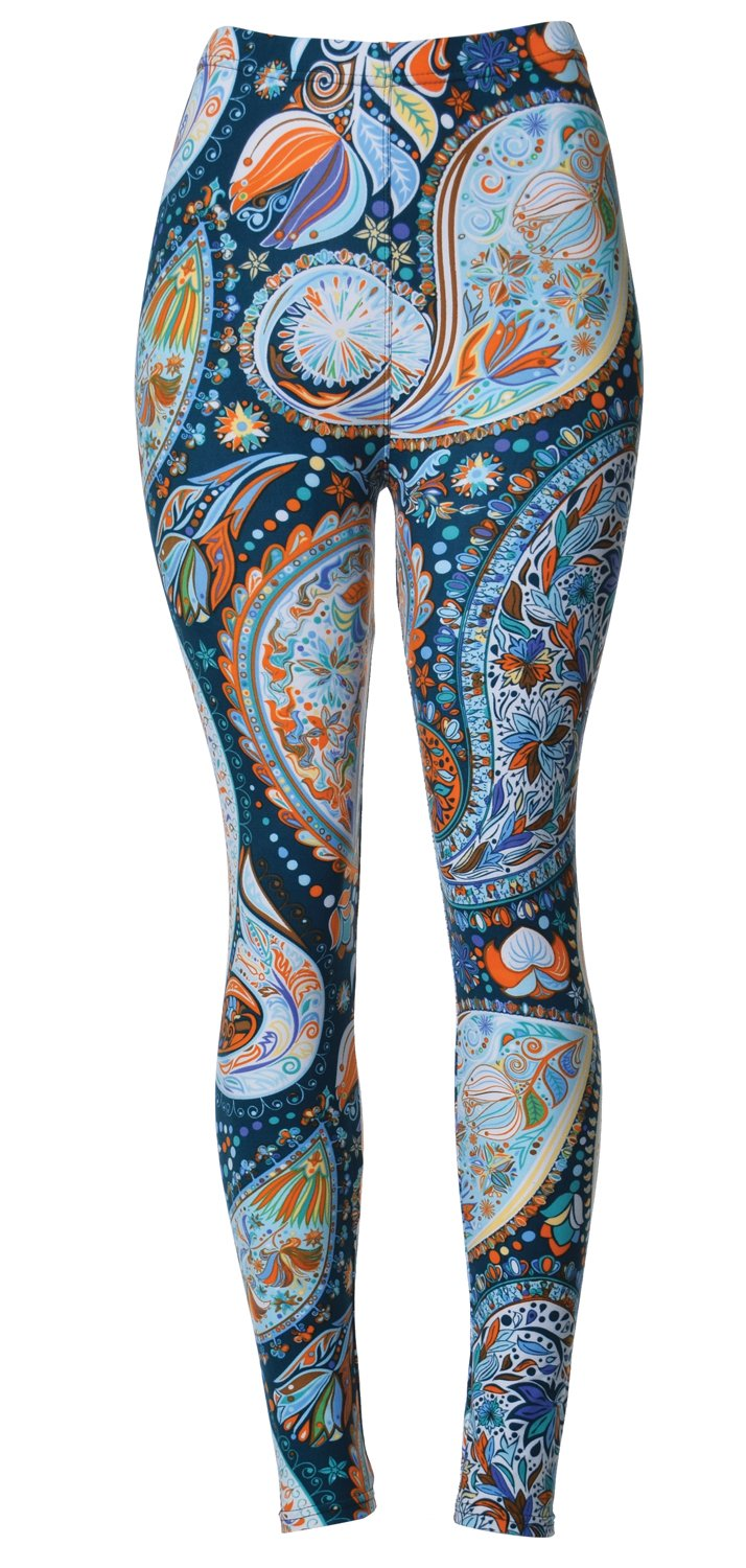 VIV Collection Junior Size Printed Brushed Leggings (ICY Paisley)