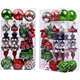Valery Madelyn 50ct Classic Traditional Shatterproof Christmas Ball Ornaments Decoration New Red Green White,Themed with Tree Skirt(Not Included)