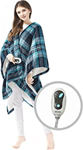 "Beautyrest Ultra Soft Sherpa Berber Fleece Electric Poncho Wrap Blanket Heated Throw with Auto Shutoff, 50"" W x 64"" L, Aqua Plaid"
