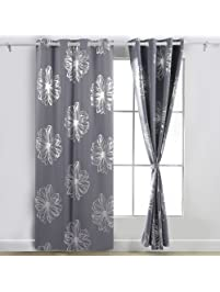 bedroom curtains and drapes. Deconovo Light Grey Flower Foil Printed Thermal Insulated Bedroom Grommet  Blackout Curtains Drapes 52 W Shop Amazon com