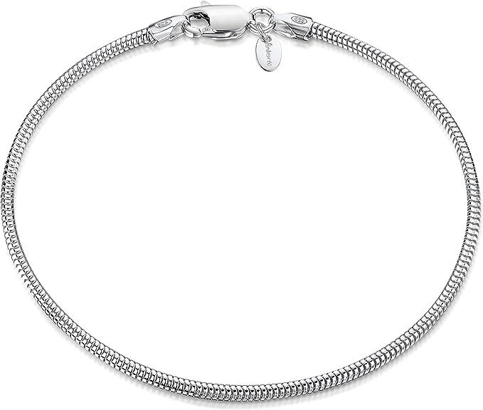 Amberta® Joyería - Pulsera - Fina Plata De Ley 925 - Cadena de Serpiente - 1.9 mm - 18 19 20 cm (20cm): Amazon.es: Joyería