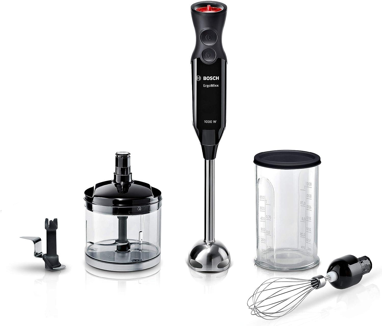 Bosch MS61B6170 ErgoMixx - Batidora de mano, potencia de 1000W con regulador + picador + cuchilla para hielo + levantaclaras + vaso