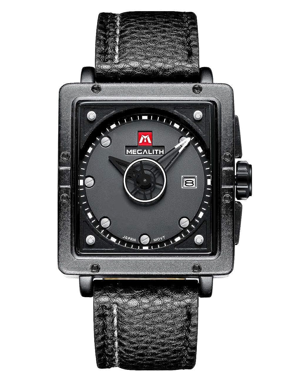 Relojes de Hombre Negro Relojes de Pulsera Deportivo Impermeable Diseño de Cuero Reloj Hombres Negocios Moda Casuals Analógico