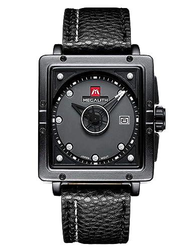 Relojes de Hombre Negro Relojes de Pulsera Deportivo Impermeable Diseño de Cuero Reloj Hombres Negocios Moda Casuals Analógico: Amazon.es: Relojes